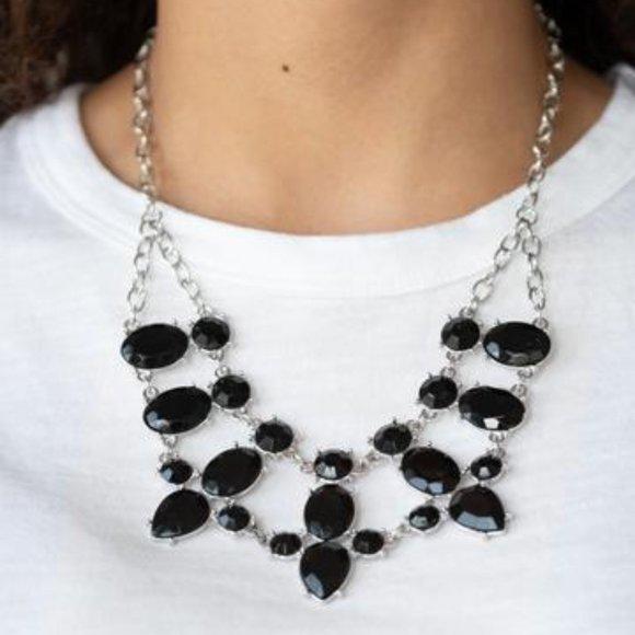 3/$20 Paparazzi Goddess Glow Black Necklace and Earring Set